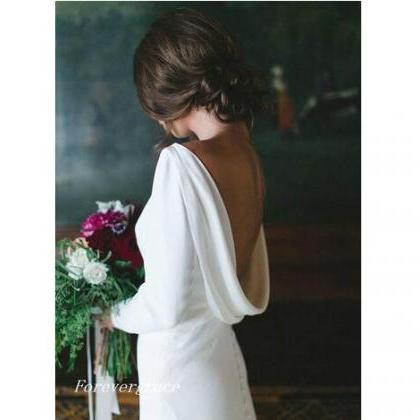 Long Sleeves Backless Wedding Dress..