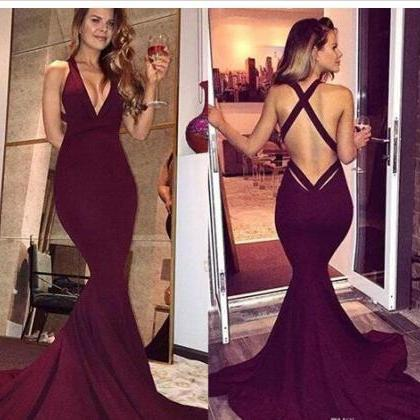 Simple Burgundy Prom Dresses 2020 S..