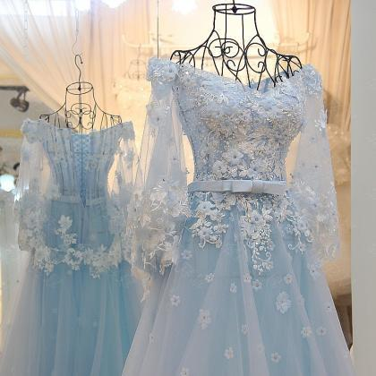 Baby Blue A Line Tulle Prom Dresses..