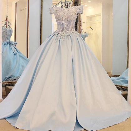 Baby Blue Ball Gown Tulle Prom Dres..
