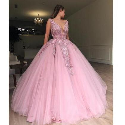 bac4cc17bcf55a Pink Plunging Neckline Sleeveless Prom Ball Gown 2019 Princess Floor ...