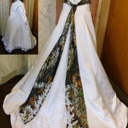 2020 A Line Camo Strapless Wedding ..