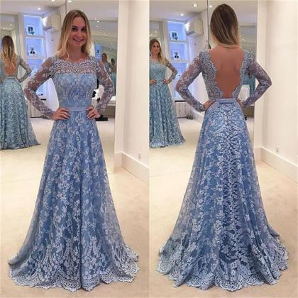 Lace Prom Dresses,Long Sleeves Prom..