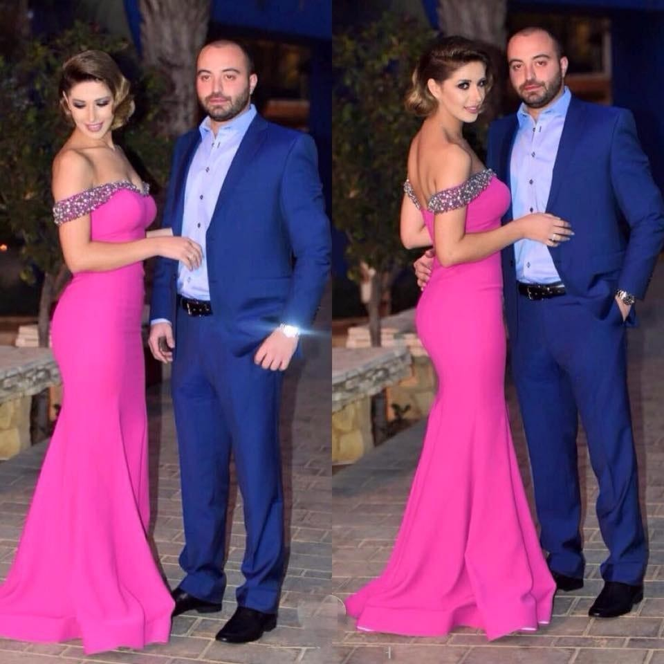 f2e66649e1 New Arrival Hot Pink Evening Dresses Mermaid Long Off the Shoulder V Neck Prom  Dress Party