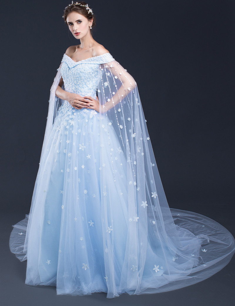 Custom Made Empire Wedding Dresses Light Blue Tulle With Lace ...