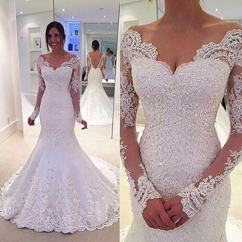 1c8d24779b5b Robe de Mariage Sexy Backless Long Sleeves Lace Mermaid Wedding Dresses  Wedding Dress Custom Made Vestidos de Novia