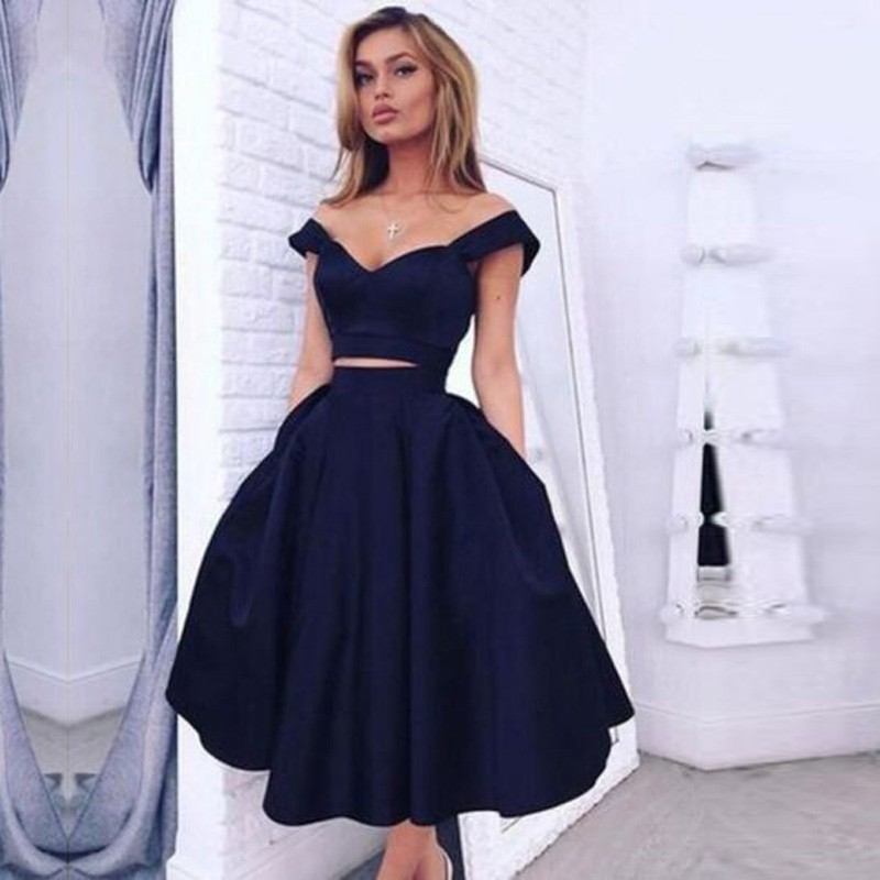 Elegant Navy Blue A Line Sweetheart Satin 2 pieces Cocktail Dress Formal Tea Length Graduation Prom Gowns Robe De Cocktail