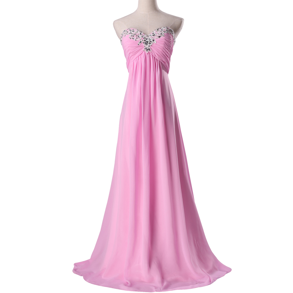 Pink Chiffon Bridesmaid Dresses Sweetheart Ruffles Beaded Long Party Dress  Plus Size Bridesmaids Dress Real Samples