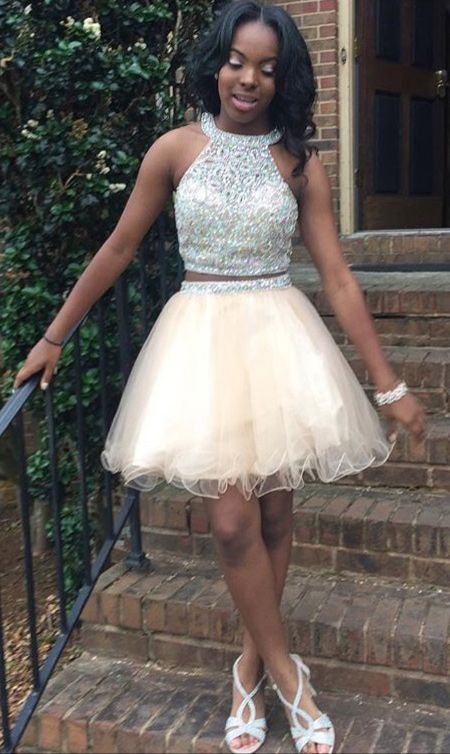 Elegant Black Girl Prom Short Dress Sexy Beaded Two Piece Homecoming Dress
