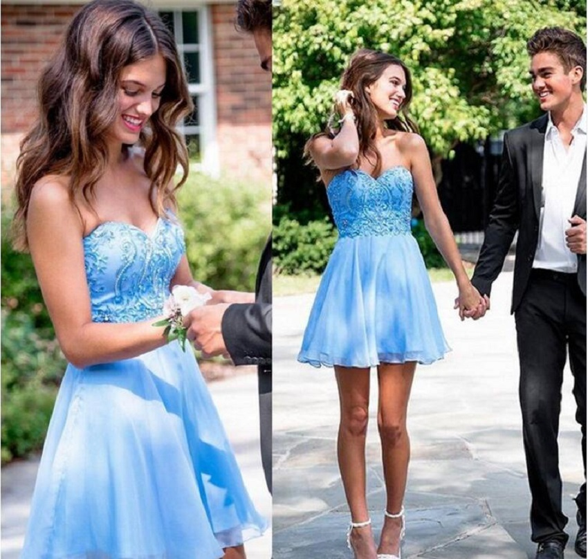 92cdd0ee73 Gorgeous Short A-Line Homecoming Dresses Blue Tulle Sweetheart Appliques  Beaded Off The Shoulder Graduation