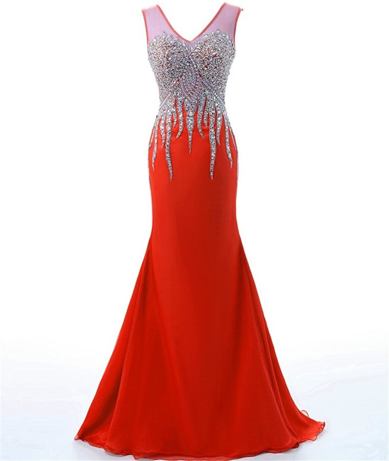 Luxury Dress Evening Vestidos De Noche Rhinestone Evening Gown Elegant Backless Mermaid Prom Dresses