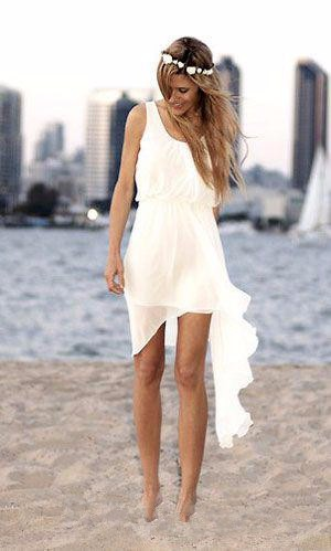 Simple Elegant Summer Style Cheap Short Ivory Chiffon Casual Beach Wedding Dress Bridal Gown Custom Made Size