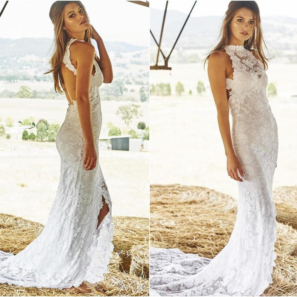 94d8bdcc9a Vintage Lace Sexy Boho Beach Wedding Dresses Halter Sleeveless Backless  High Slit Corset Bohemian Wedding Dress