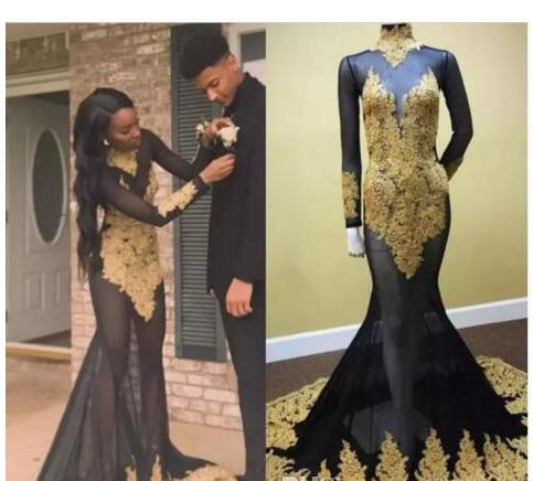 9ba5798405a5 Sexy Long Sleeves Evening Dresses With High Neck Gold Lace Appliques  Illusion Mermaid Prom Dress Long Tulle African Dresses Evening Wear