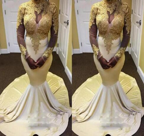 2d0faaa9a22a Gold Appliques 2K18 Prom Dresses Mermaid Long High Neck Long Sleeves ...