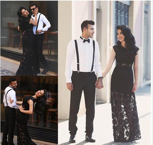 Newest Elegant Black O-Neck Lace Long Evening Dresses Floor-length Formal Evening Gowns Prom Dresses Vestido De Noite