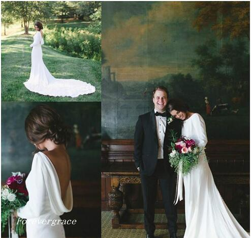 Long Sleeves Backless Wedding Dress Elegant Bateau Neck Beach Summer Long Bridal Gown Plus Size Custom Made
