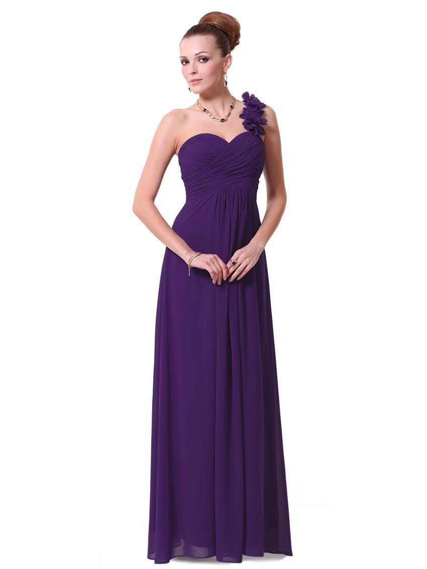 cb2afe3b41768 Generous Dress Long Purple Bridesmaid Dresses A-line One Shoulder Wedding  Ceremony Dress Gowns Flowers