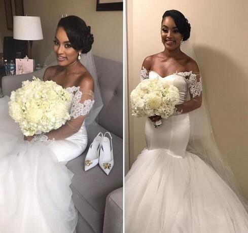Gorgeous Lace Mermaid Beach Wedding Dress With Puffy Skirt 2018 African Custom Sheer Long Sleeve Off Shoulder Corset White Tulle Bridal Gown