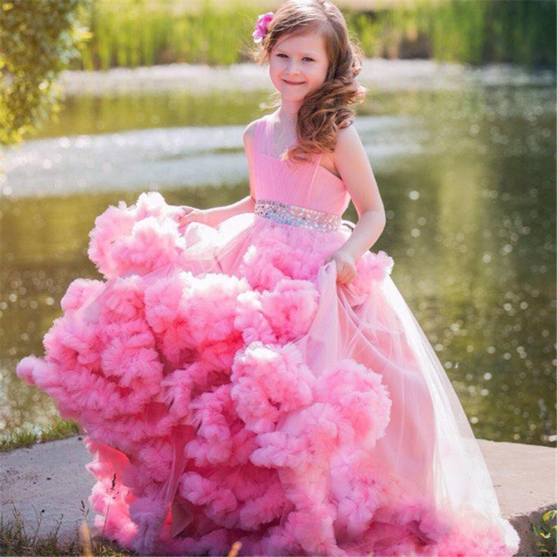 Ball Gown Girl s Pageant Dresses Floor Length Ruffled Tulle Crystal Flower Girl  Dresses Custom Made Vestidos Longo c2701ef15765