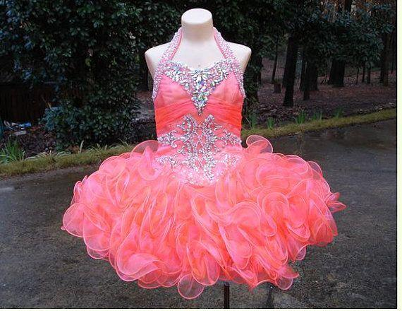 Cute Ruffled Organza Toddler Girls Pageant Dresses 2018 Cheap Halter  Neckline Beaded Crystal Ball Gown Flower Girl Dresses