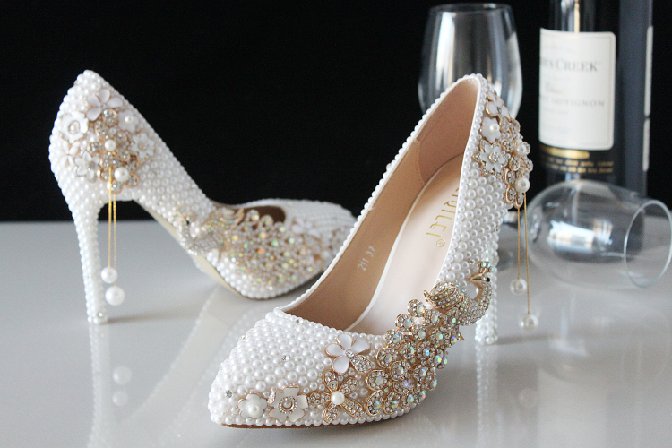 2018 In Stock Sparkle Wedding Heels Women Pumps 10 Cm High Heels Wedding Bridal Shoes Crystals Lace On Luulla