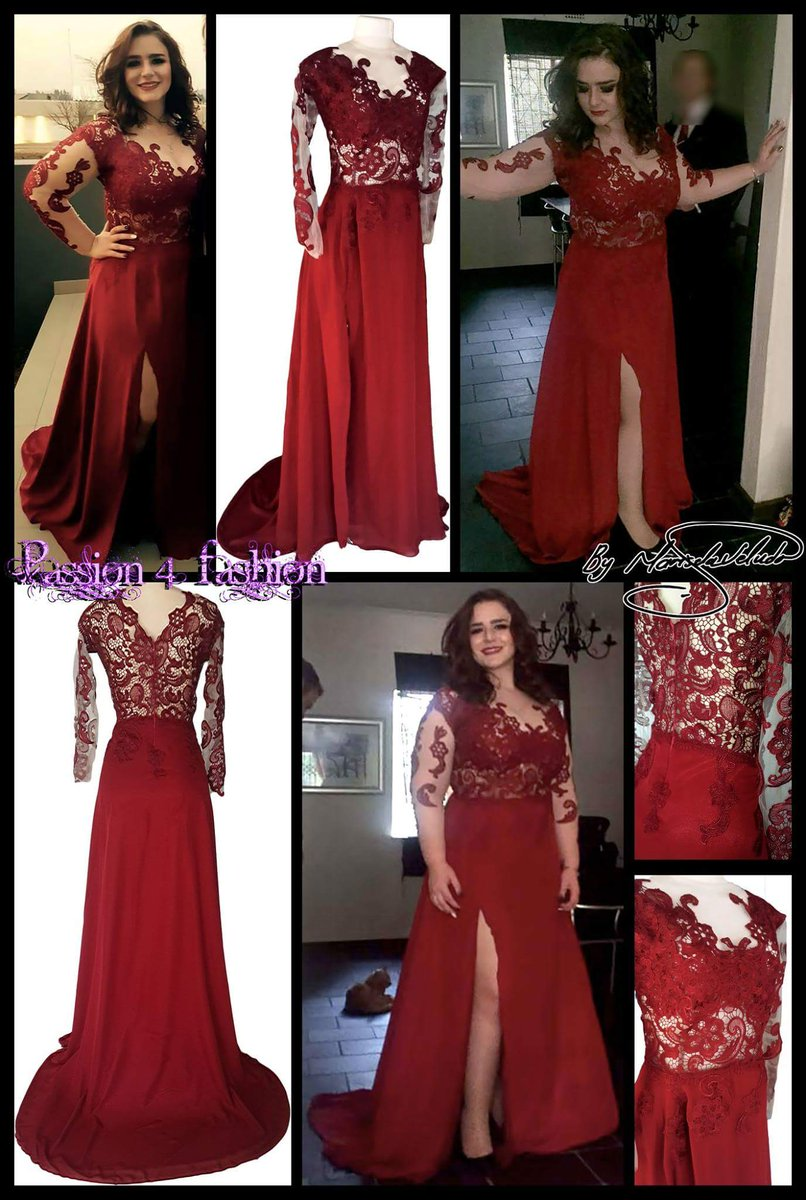 2018 Wine Red Burgundy A Line Chiffon Plus Size Prom Dresses Crew Neck Lace  Bodice Long Sleeve Side Slit Evening Dress Formal Gowns