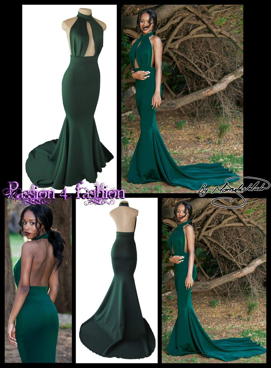 2018 Green Mermaid African Girl Black Girl Prom Dresses High Neck Cutout Evening Dress Formal Gowns Vestidos
