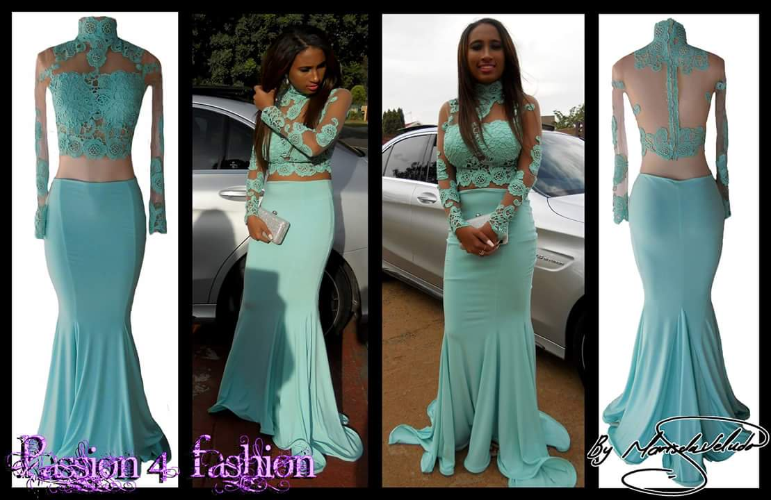 a55d07b2e0e2 2018 Baby Blue Two Pieces Mermaid African Girl Black Girl Prom Dresses High  Neck Sheer Long