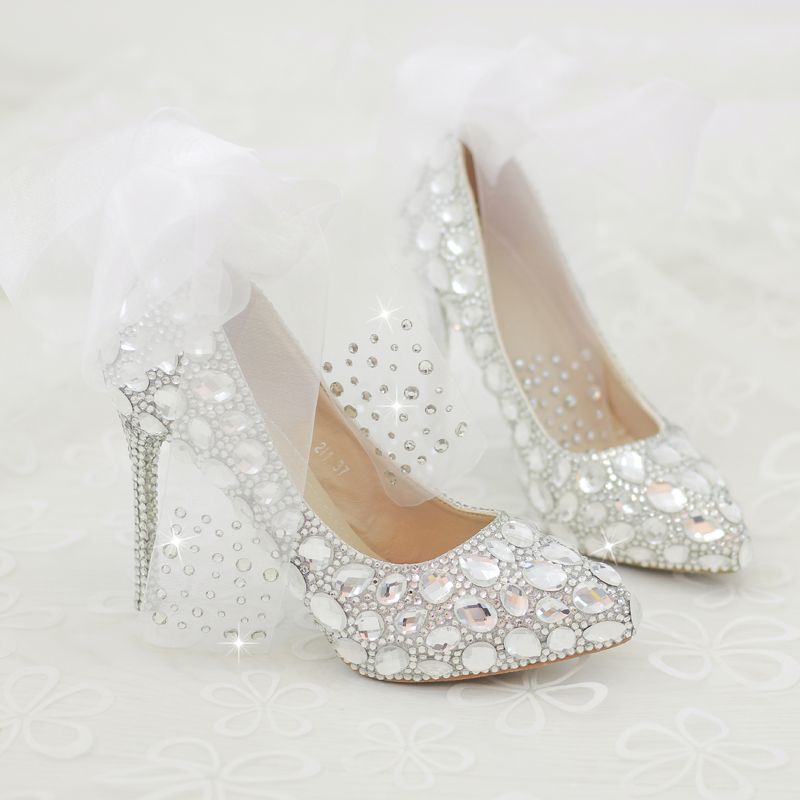 a37bc6c019e 2018 In Stock Sparkle Pearls Red Wedding Heels Women Pumps 10cm High Heels  Wedding Bridal Shoes Crystals Lace Pointed Toe High Heels