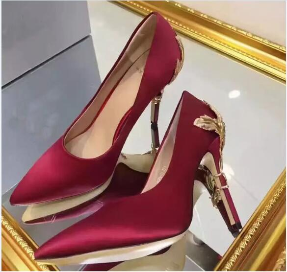 Burgundy for wedding silk bridal heels evening prom shoes