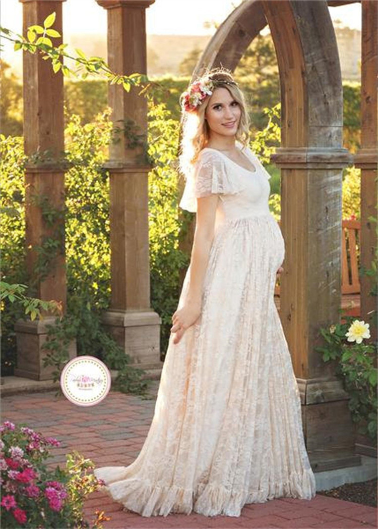 Pregnant Women Long Maxi Maternity Lace Dresses Gown Photo Photography Prop UK