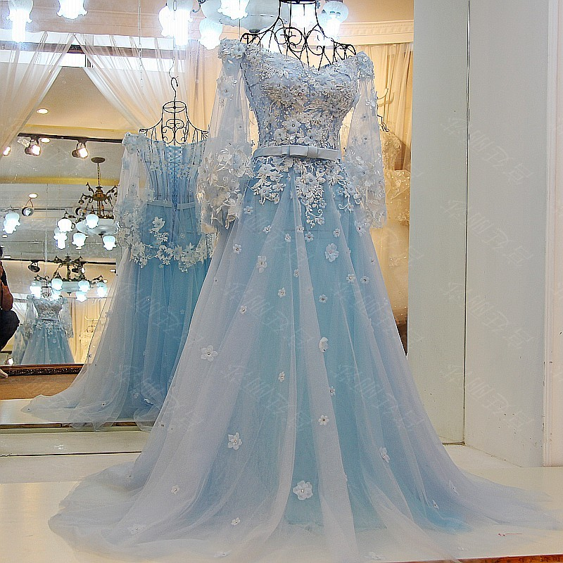 Baby Blue A Line Tulle Prom Dresses Sheer Long Sleeve Handmade Flowers Appliques Lace Evening Dress Party Gowns