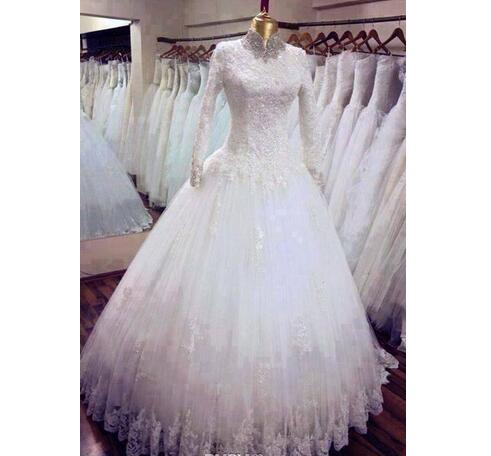 2018 Custom made high neck A line Muslim wedding dresses - Muslim Middle East style lace appliques long sleeves church Spring bridal gowns
