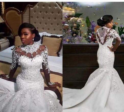 e52d7d8bd76 African Glamorous Mermaid Wedding Dresses 2018 Luxury Beads Crystal High  Neck Long Sleeves Applique Bridal Gowns