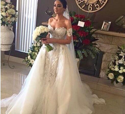 fa299b8d1cf Lace Bridal Gowns with Detachable Tulle Overskirt and detachable Short  Sleeves Beaded Over Nude Color Wedding Dresses