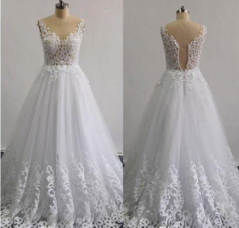 Real Images 2020 Beaded Wedding Dresses A -Line Illusion Neckline Sleeveless Layers Skirt Ruffle Lace Appliques Bridal Gowns