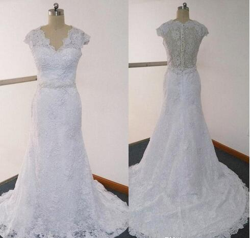 Fit N Flare Wedding Dresses Real Images Sheer V Neck Cap Sleeve Beaded Court Train Lace Bridal Wedding Gowns