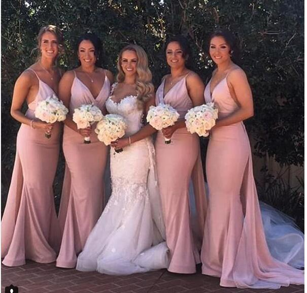 2018 Blush Pink Mermaid Bridesmaid Dresses Sexy Deep V Neck Sleeveless Bridesmaid Gowns Prom Dresses