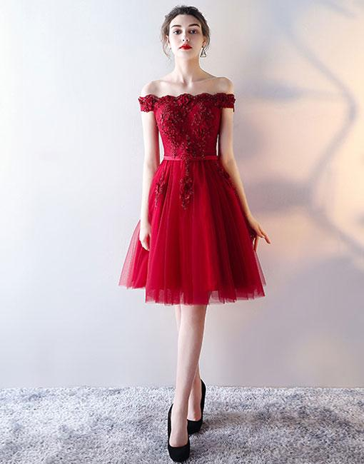 16c8804010 Red Cute Off-Shoulder Tulle Homecoming Dress