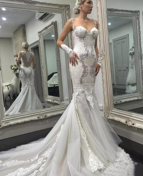 5d66fb3b2c86 Gorgeous 2018 Lace Sheer Neck Illusion Back Tulle Mermaid Wedding Dresses  Sexy Applique Long Sleeve Bridal Gowns Custom Made
