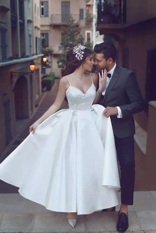 4309b3fa92ba3 2018 Arabic Style Lace Spaghetti Top Taffeta Skirt Tea Length Wedding Dresses  Sexy Backless Bridal Gowns Custom Made