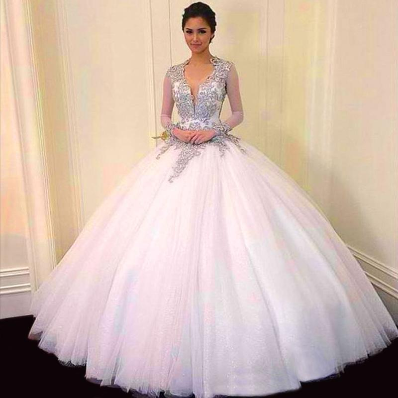 22782073fb cheap Ball Gown Quinceanera Dresses V-Neck Tulle For Backless Long Sleeves  applique Beads evening