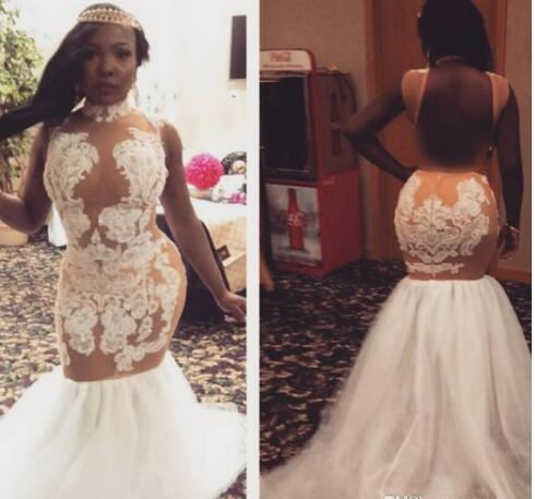 pageant gowns mermaid black girl prom dresses 2020 sexy cheap plus size formal evening gowns lace backless high neck white prom dresses