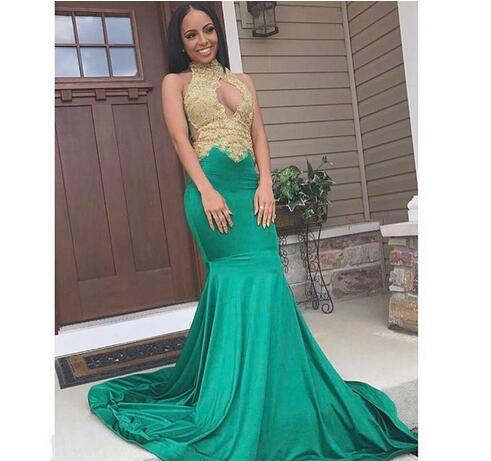 22b2d4475bb black girl prom dresses gold lace 2018 sexy cheap plus size formal evening  gowns mermaid green prom dress