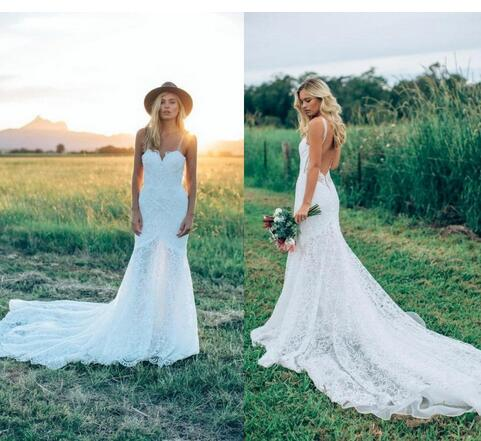 2018 Bohemian Spaghetti Straps Mermaid Wedding Dresses Full Lace Sweetheart Sexy Backless Summer Beach Garden Bridal Gowns