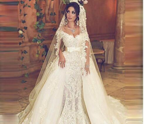 73d94a89f624f Vintage Overskirts Wedding Dresses Train Off Shoulder Sash Mermaid Lace  Wedding Dress With Detachable Tulle Train Count Train Bridal Gowns