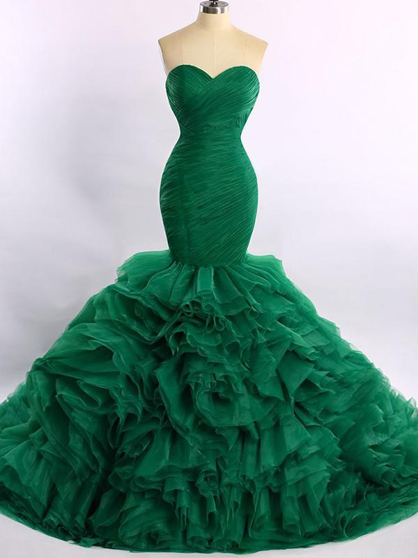 Chic Mermaid Prom Dress Modest Simple Green Cheap Long Prom Dress