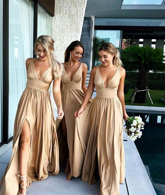 Champagne V-Neck Long Bridesmaid Dress With