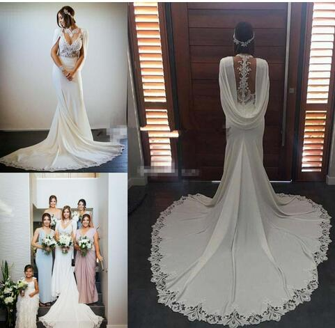 Lace Chiffon Bohemian Greek Goddess Wedding Dresses With Cape Cloak ...